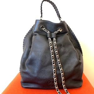 Tory Burch pebble grain slouchy backpack chain